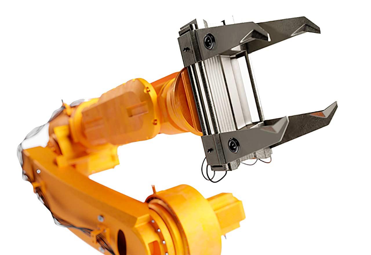 Robot industrial amarillo para línea de producción